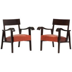 Pair of Wood Slab and Red Leather Armchairs