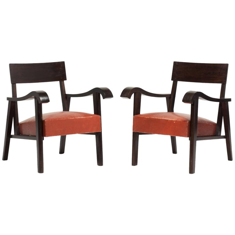 Pair of Wood Slab and Red Leather Armchairs For Sale