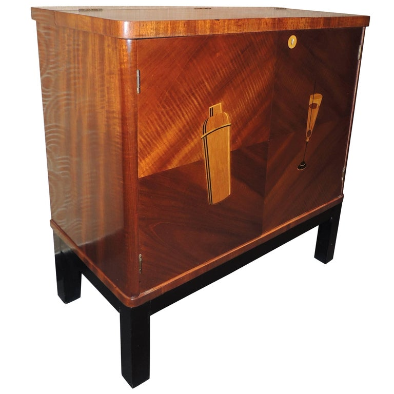 Small art deco bar with cocktail design inlay for sale at 1stdibs - Deco bar design ...