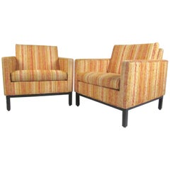 Pair of Vintage Modern Club Chairs with Kravet Upholstery