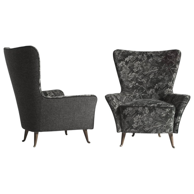 Pair of Reupholstered I.S.A. Parlor Chairs in Liberty London Velvet For Sale