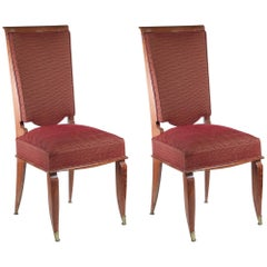 Maurice Jallot Pair of High-Backed Side Chairs