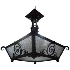 French Art Deco Hand Forged Wrought Iron Chandelier