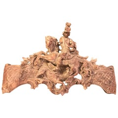 French Rococo Carving of St George and the Dragon, Large-Scale