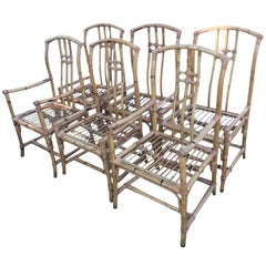 Set of Six Mid-Century Chinese Export Bamboo and Rattan Dining Chairs