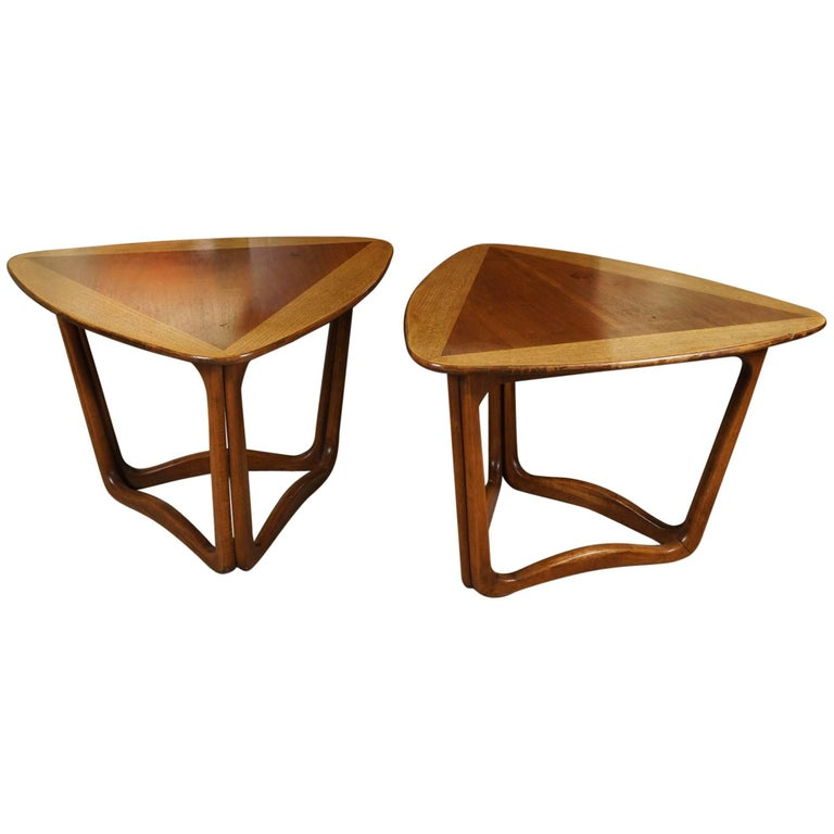 Pair of Triangular Wood End Tables 1
