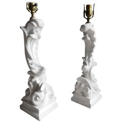 Pair of Plaster Table Lamps, Serge Roche