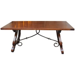 Antique French Gentlemen's Table from San Tropez with Original Ironwork
