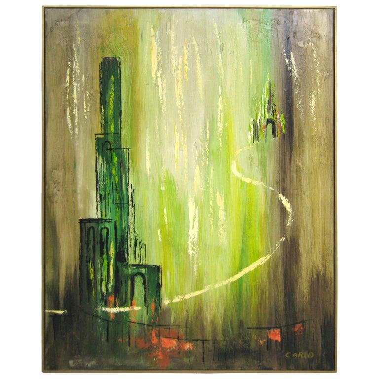 Mid-Century Modernist Oil on Canvas Painting