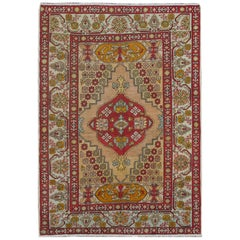 Midcentury Floral Turkish Oushak Rug with Medallion in Red, Orange and Green