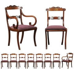 Set of Ten Regency Style Dining Chairs, Rosewood, Mahogany and Brass Inlay