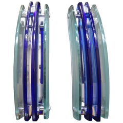Pair of Murano Glass Sconces- Blue and Frosted Glass by Veca