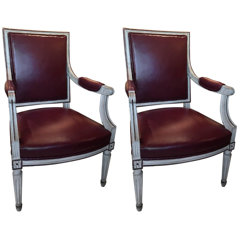 Pair of Louis XVI Style Painted Fauteuils or Armchairs, 19th Century