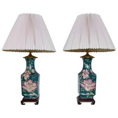 Pair of Heywood House Lamps Chinese Famille Rose Base