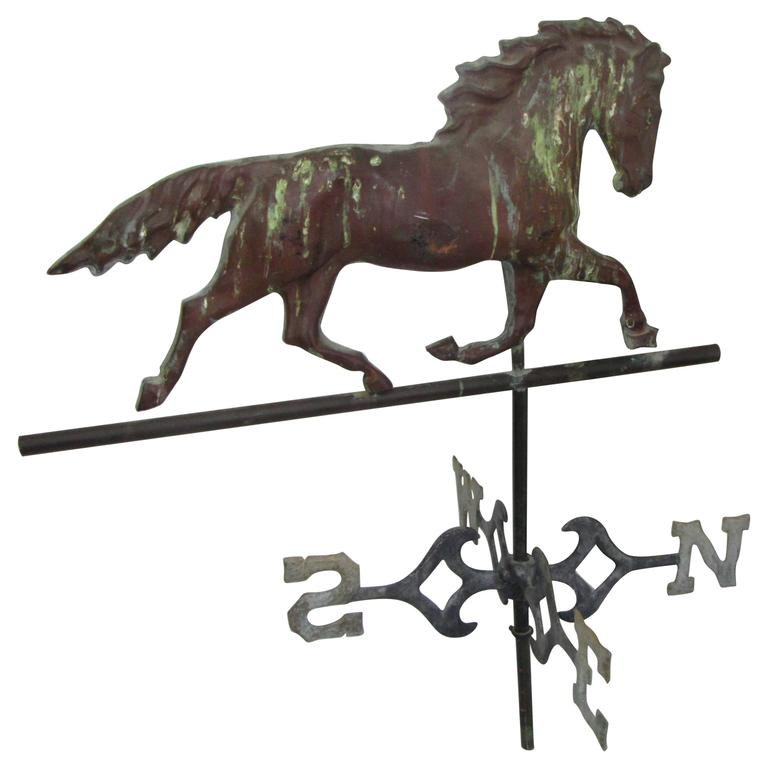 American Copper Trotting Horse Weathervane with Directionals For Sale