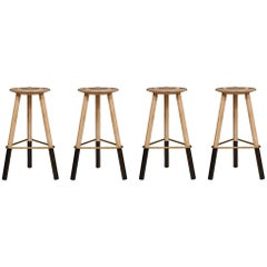 Set of Four Erickson Aesthetics Solid Ash Tripod Stools