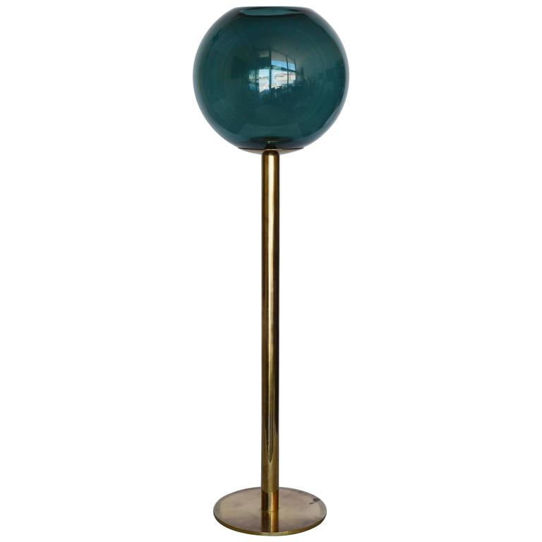 Hans-Agne Jakobsson Tall Brass and Glass Candleholder For Sale