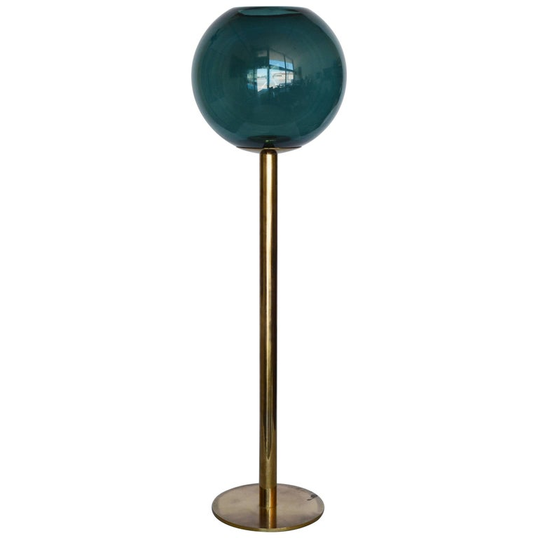 Hans-Agne Jakobsson Tall Brass and Glass Candleholder