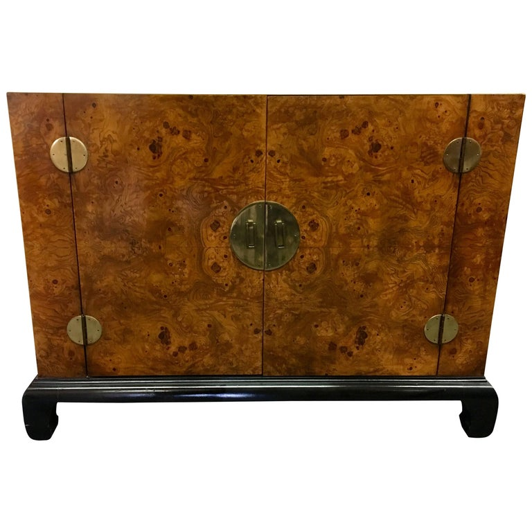 Asian Mid Century Modern Burl Wood Cabinet By Hekman For