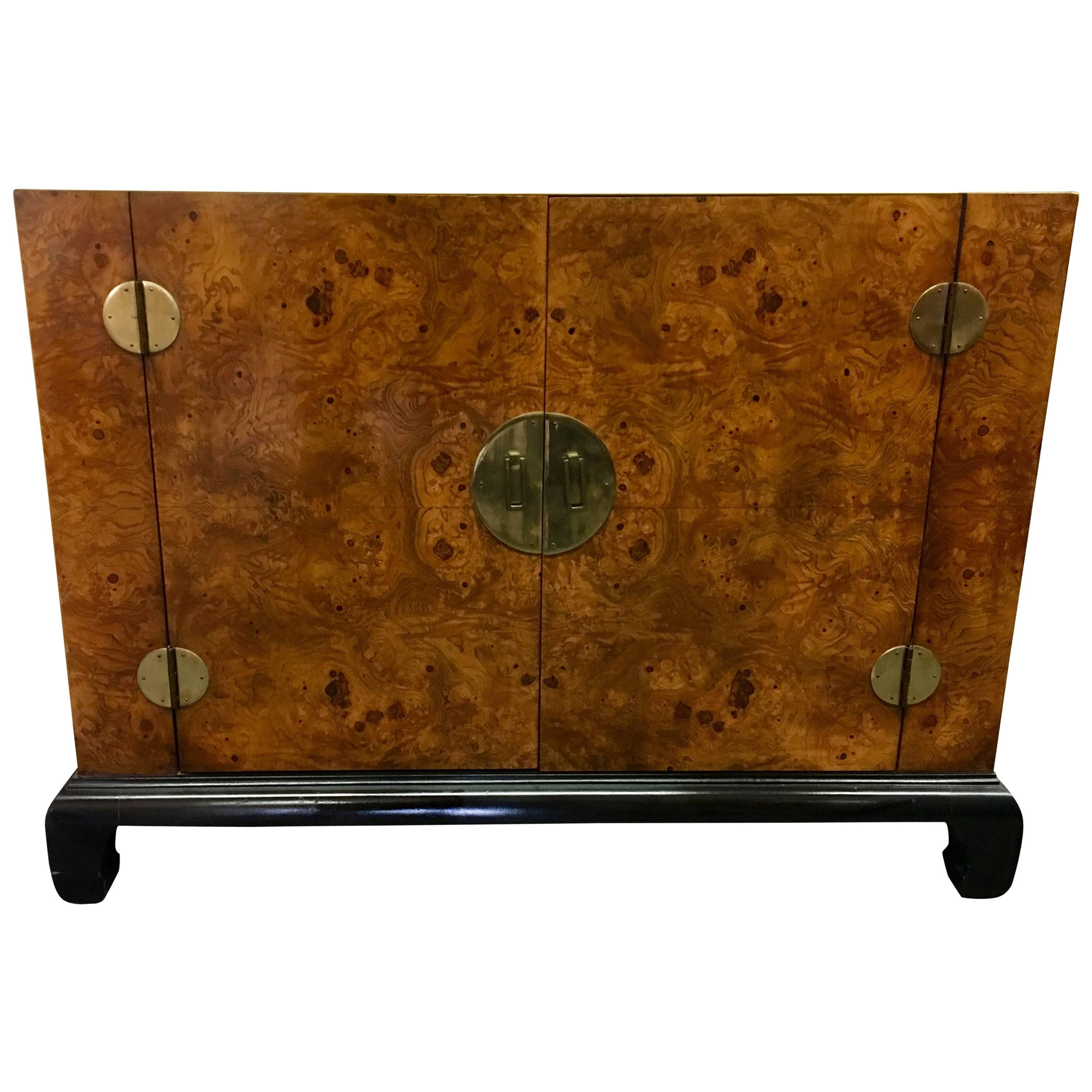 asian midcentury modern burl wood cabinet by hekman - Hekman Furniture