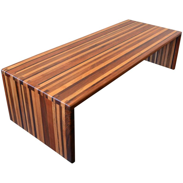 California Craft Studio Laminated Mixed Woods Coffee Table or Bench For Sale
