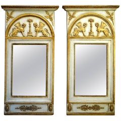 Pair of Swedish Neoclassical Mirrors with Original Mercury Glass