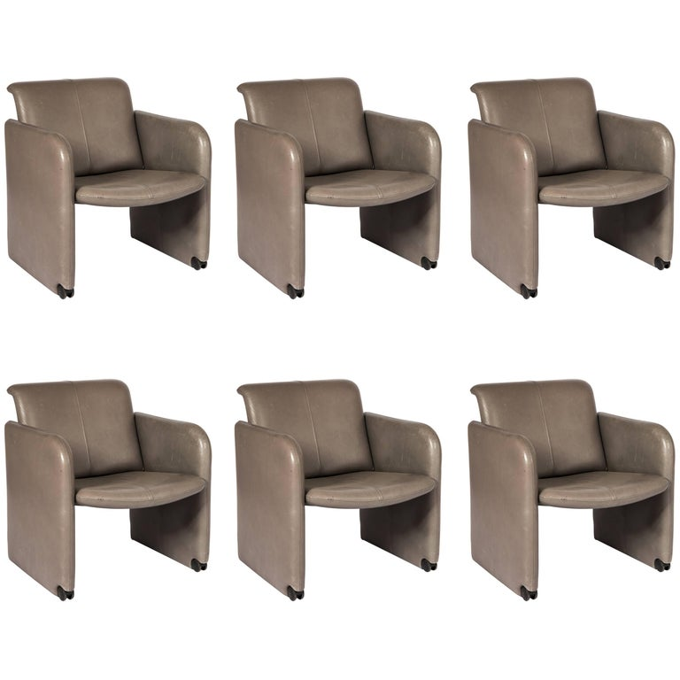 Set of Six COR Leather Armchairs For Sale