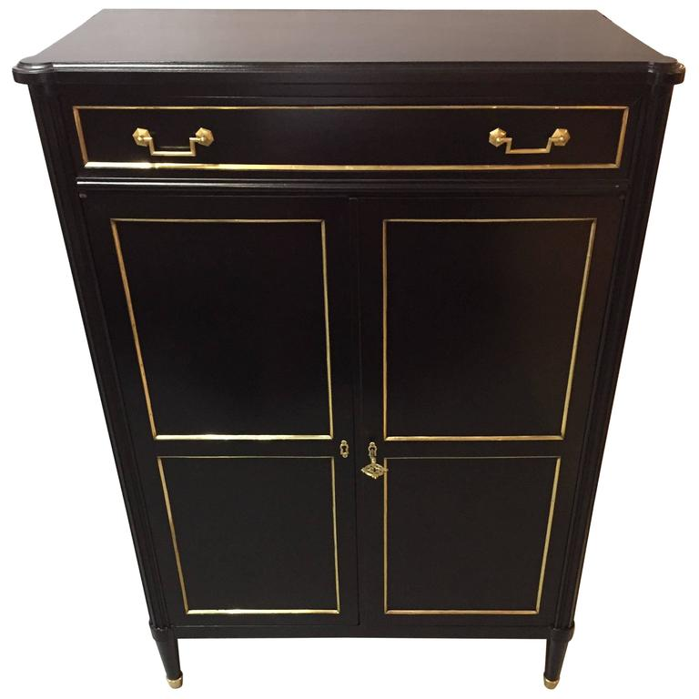 Maison Jansen Style Hollywood Regency Inspired Ebonized Hi Chest For Sale