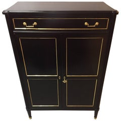 Maison Jansen Style Hollywood Regency Inspired Ebonized Hi Chest