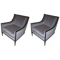 Pair of Mid-Century Modern Ebonized Armchairs