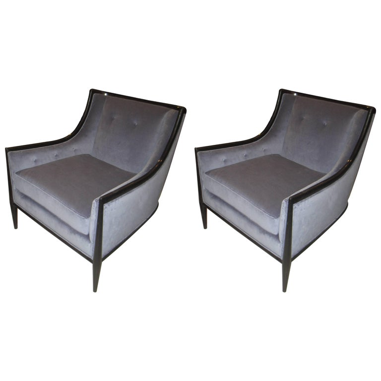 Pair of Mid-Century Modern Ebonized Armchairs 1