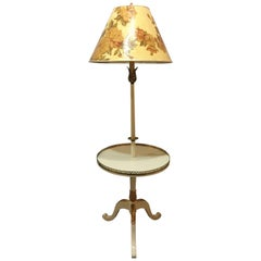 Off-White and Gilt Gold Paint Decorated Table Lamp with Custom Shade