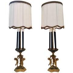Pair Of Antique Neoclassical Bronze Gilt  Six-Light Cherub Bouilotte Lamps