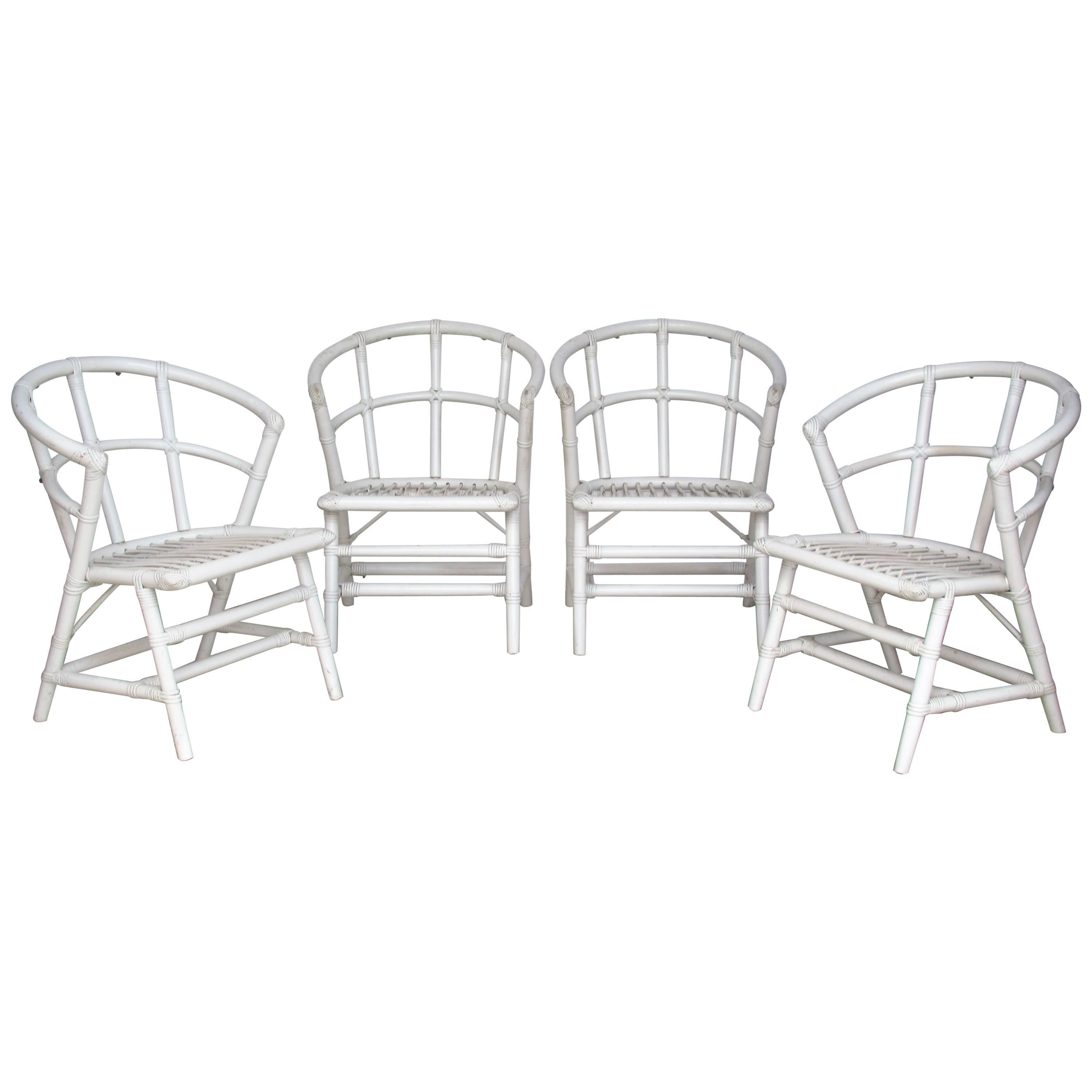 Modernist Rattan Chairs By Willow And Reed Attributed To Tommi Parzinger  For Sale