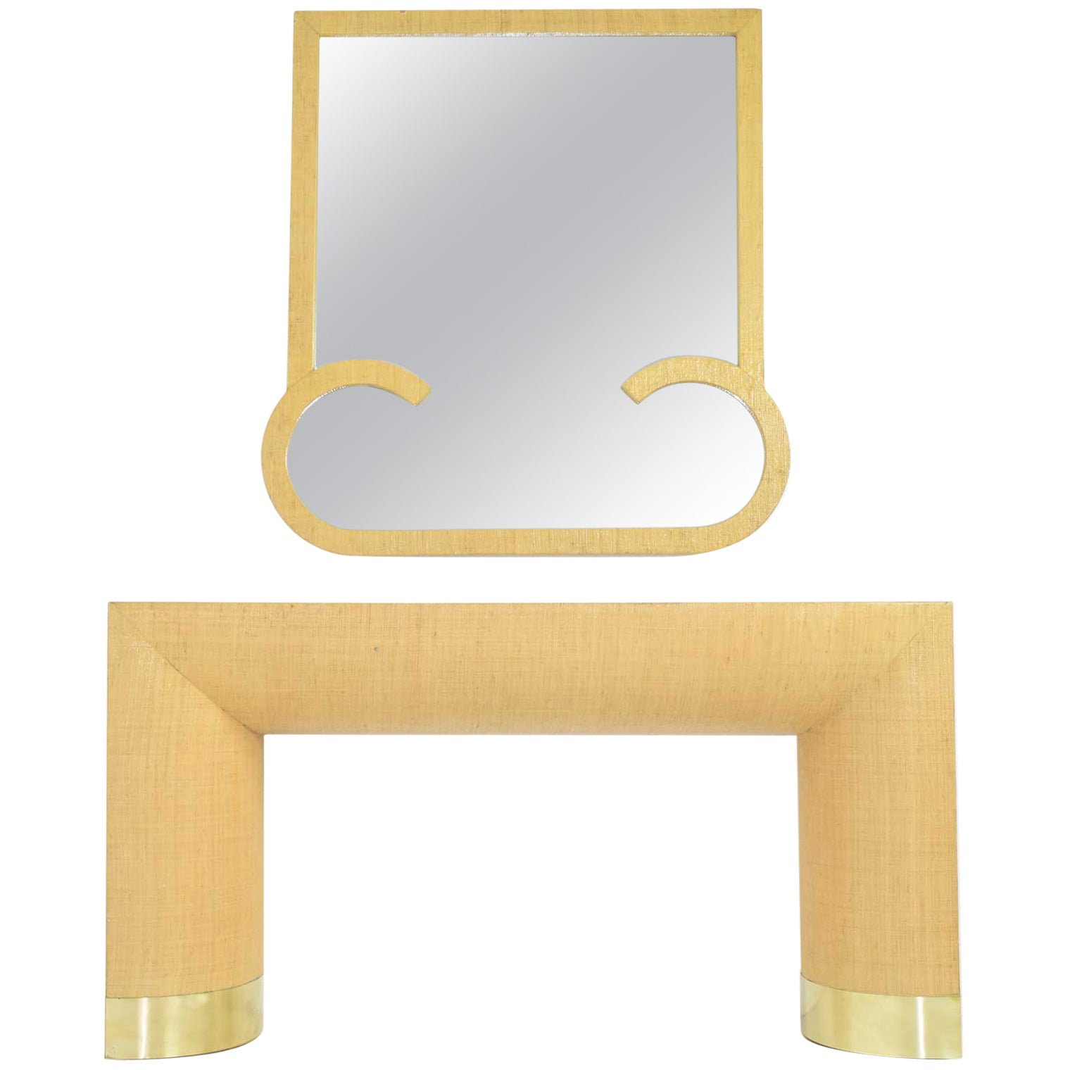 Karl Springer Style Grasscloth Console and Mirror