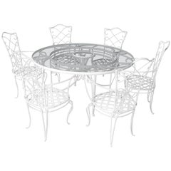 1930s White French Iron and Glass Outdoor Dining Table with Set of 12 Chairs