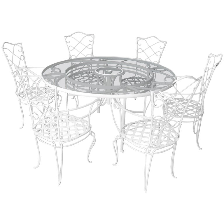 1930s white french iron and glass outdoor dining table with set of 12 chairs for sale at 1stdibs