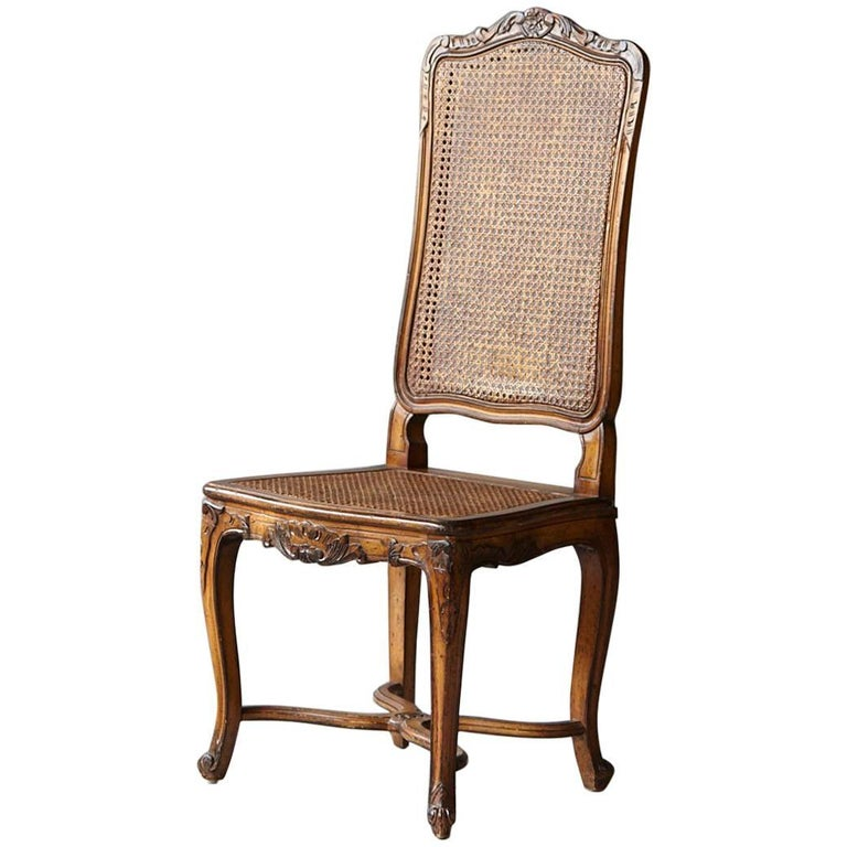 19th Century Louis XV Style Caned High Back Wood Chaise