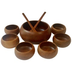 Midcentury Hand Turned Teak Nine Piece Bowl Set
