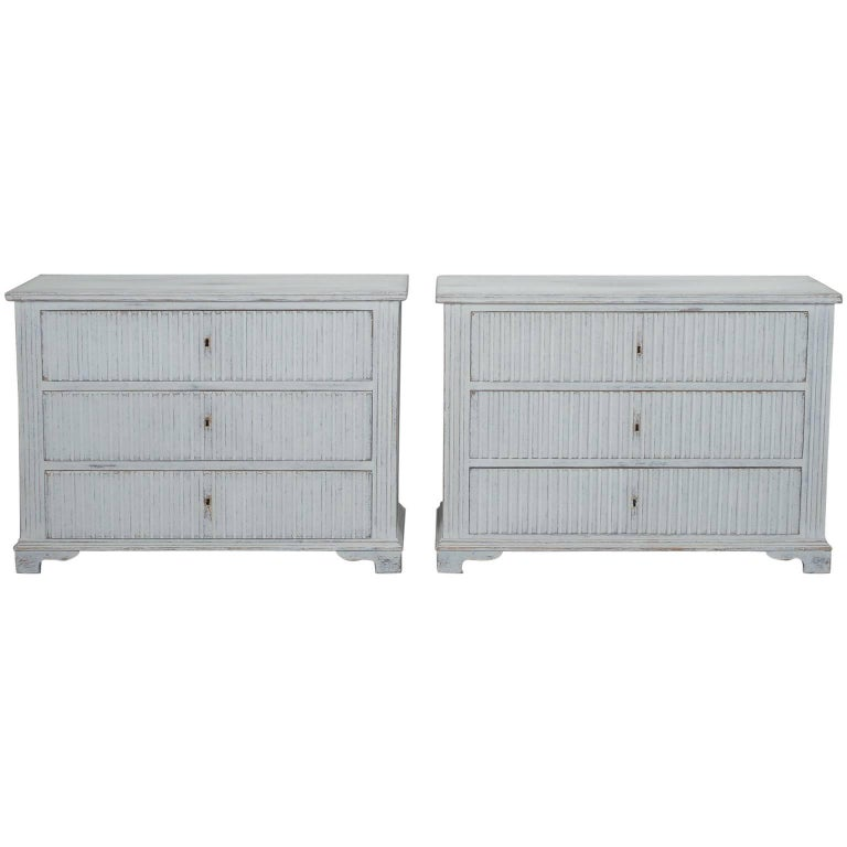 Pair of Painted and Reeded Swedish Three-Drawer Chests