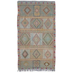 Colorful Vintage Embroidery Moroccan Rug with Diamond Pattern and Fringe Detail
