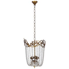 Empire Chandelier with Gilt Iron and Cascading Beads