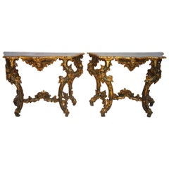 18th Century Pair of Roman Parcel Gilt and Painted Console Tables Circa 1750