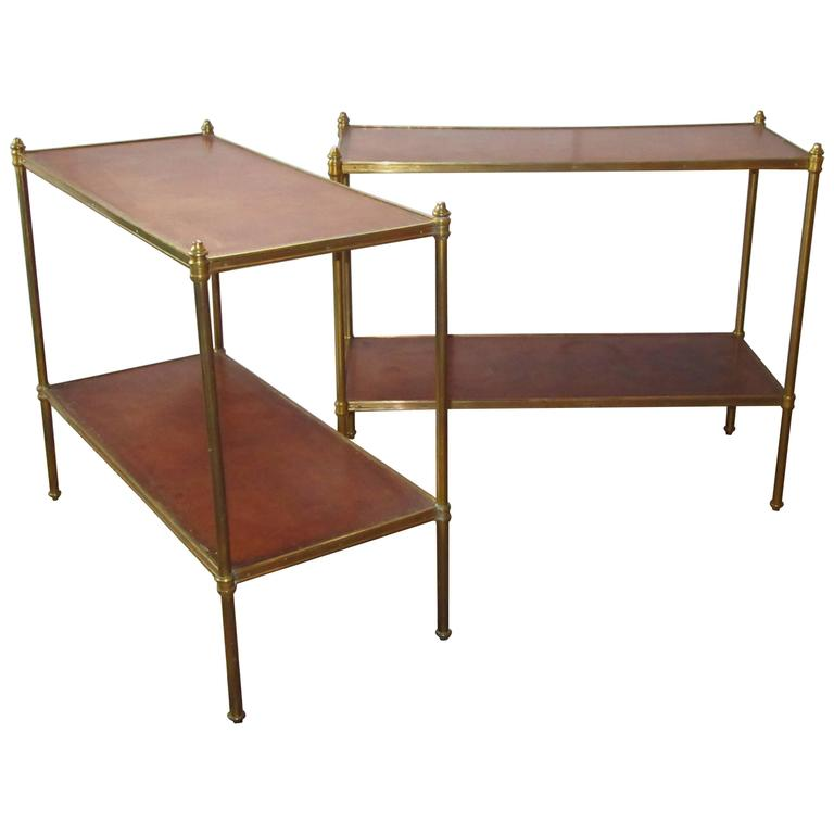 Pair of Maison Jansen Style Brass and Leather End Tables For Sale