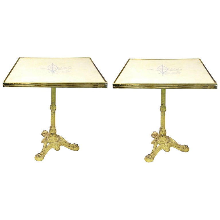 Pair of French Parisian Bistro Tables from Bristol Cafe 1