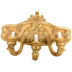 Large Pair of French Giltwood Three-Light Shell Motif Wall Sconces, Electrified