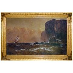 1886 Granville Perkins Oil on Linen Nautical Seascape Painting