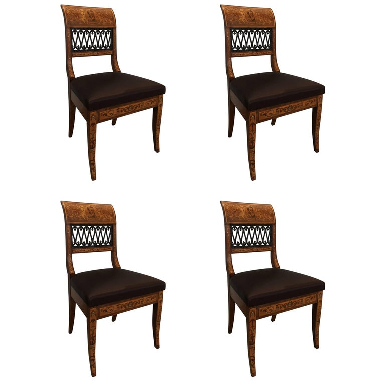 Set of Four Italian Neoclassic Side Chairs Having a Pierced Back