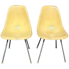 Charles Eames for Herman Miller Pair of Yellow Shell Chairs