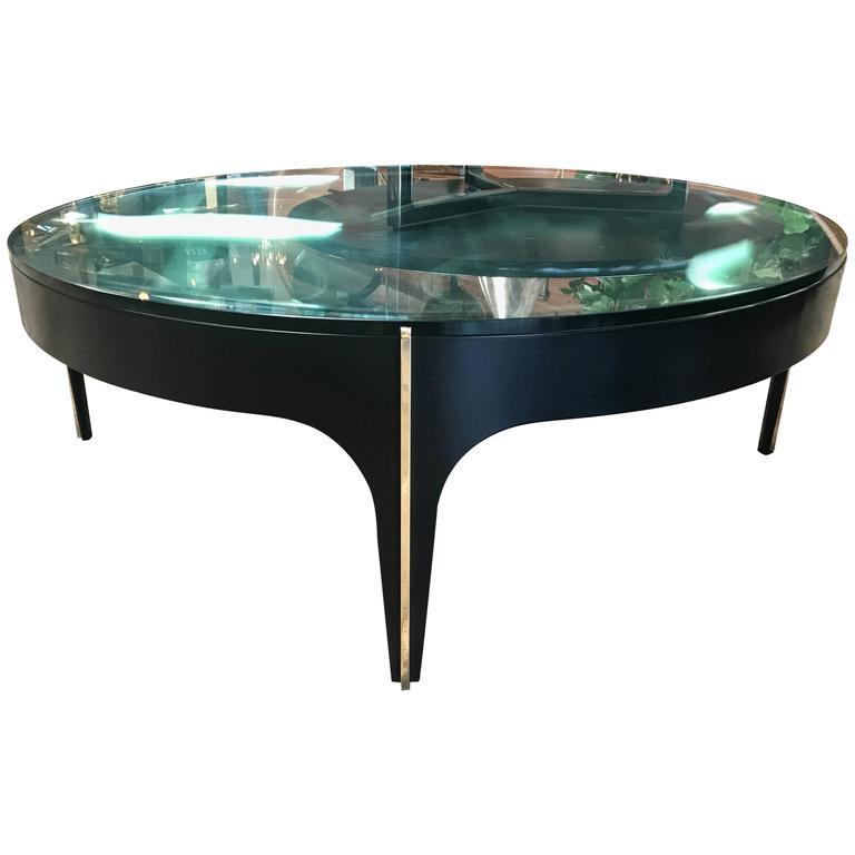 Custom Brass Coffee Table: Ma+39's Custom Black And Brass Magnifying Lens Coffee